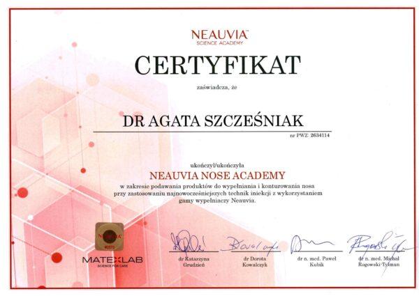 certyfikat dr Agata Szczesniak Neauvia