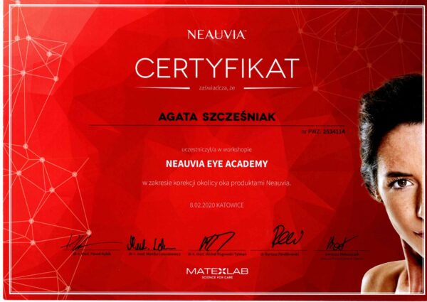 certyfikat dr Agata Szczesniak neauvia eye