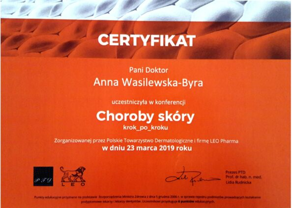 certyfikat dr Anna Wasilewska - Byra choroby skóry