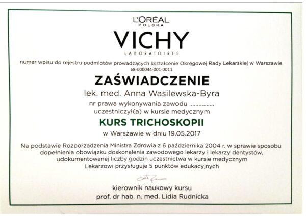 certyfikat dr Anna Wasilewska - Byra trichoskopia