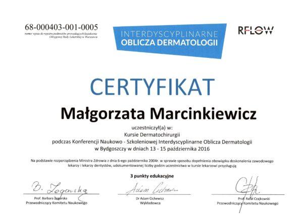 certyfikat dr Małgorzata Marcinkiewicz 1