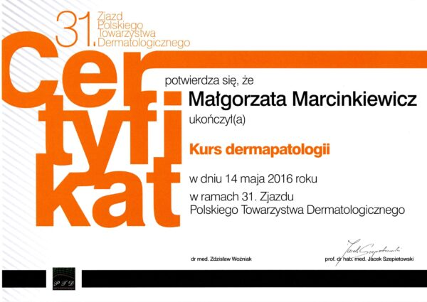 certyfikat dr Małgorzata Marcinkiewicz dermapatologia