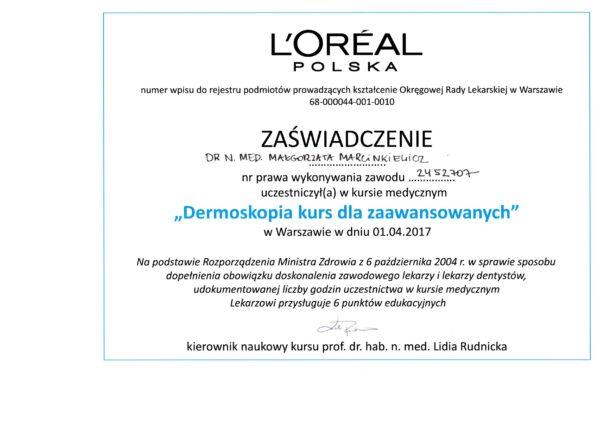 certyfikat dr Małgorzata Marcinkiewicz dermatoskopia