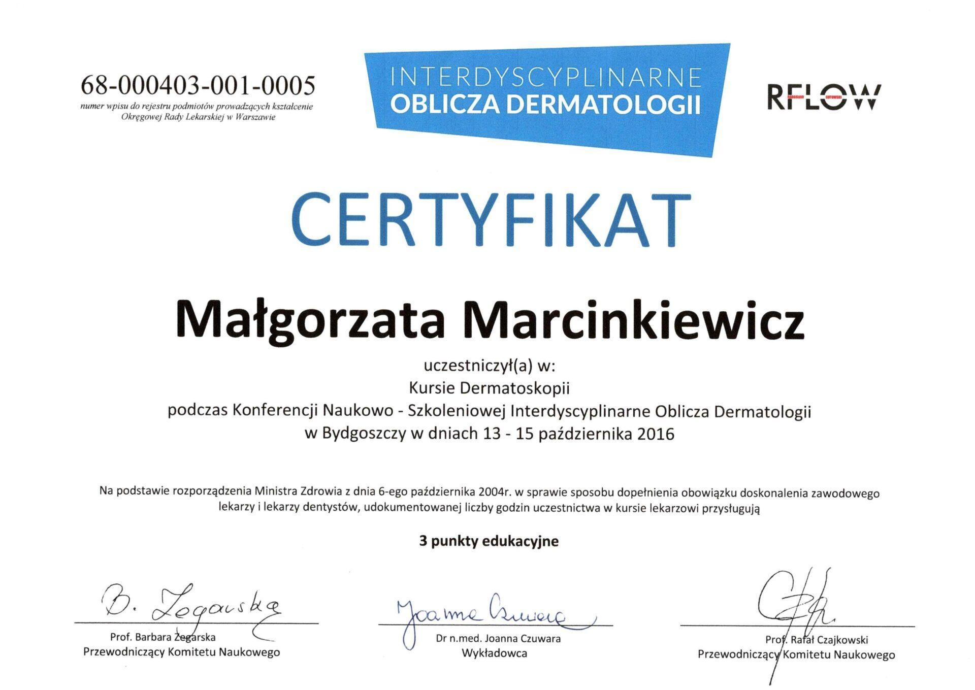 dr Małgorzata Marcinkiewicz certyfikat 2